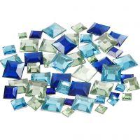Rhinestones, Fyrkantiga, stl. 6+9+12 mm, blå/grön harmoni, 360 st./ 1 förp.