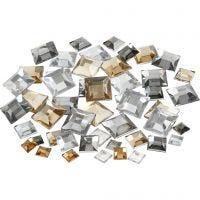 Rhinestones, Fyrkantiga, stl. 6+9+12 mm, gyllen olja, 360 st./ 1 förp.