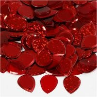 Paljetter, droppe, stl. 14x19 mm, röd, 50 g/ 1 förp.
