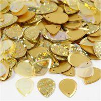 Paljetter, droppe, stl. 14x19 mm, guld, 50 g/ 1 förp.