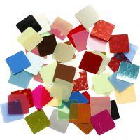Paljettmosaik, stl. 10x10 mm, mixade färger, 10 g/ 1 förp.