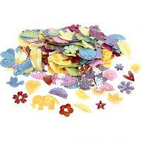 Paljetter, stl. 15-45 mm, pärlemorsfärger, 400 g/ 1 förp.