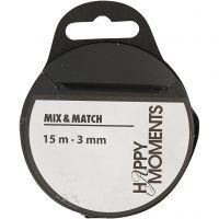 Satinband, B: 3 mm, svart, 15 m/ 1 rl.