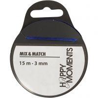Satinband, B: 3 mm, mörkblå, 15 m/ 1 rl.