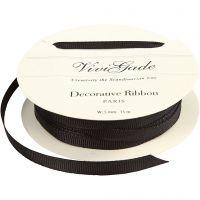 Grosgrainband, B: 6 mm, svart, 15 m/ 1 rl.