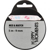 Dekorationsband, B: 9 mm, rosa, 5 m/ 1 rl.