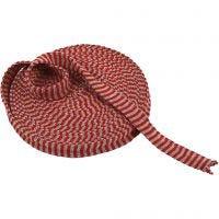 Tubstickat, B: 22 mm, julröd/grå, 10 m/ 1 rl.