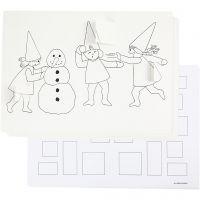 Julkalender med nissar i snöbollskrig, A3, 30 st./ 1 förp.