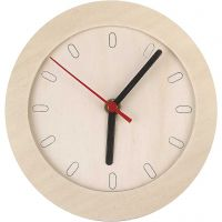 Klocka med träram, Dia. 15 cm, 1 st.