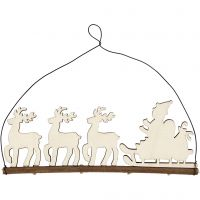 Juldekoration, Renar med kälke, H: 8 cm, djup 0,5 cm, B: 22 cm, 1 st.