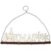 Juldekoration, XMAS, H: 7 cm, djup 0,5 cm, B: 22 cm, 1 st.