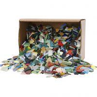 Glasmosaik, stl. 8-20 mm, mixade färger, 2 kg/ 1 förp.
