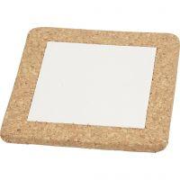 Grytunderlägg med korkramar, stl. 15,5x15,5x1 cm, vit, 10 st./ 1 låda