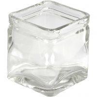 Fyrkantiga värmeljushållare, H: 5,5 cm, stl. 5,5x5,5  cm, 12 st./ 1 låda