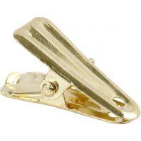 Dekorationsklämma, L: 27 mm, B: 14 mm, guld, 10 st./ 1 förp.