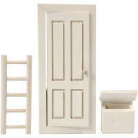 Dörr, brevlåda och stege, stl. 8x18 cm, 1 set