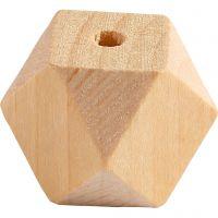 Facettslipade träpärlor, B: 20 mm, Hålstl. 3 mm, 6 st./ 1 förp.