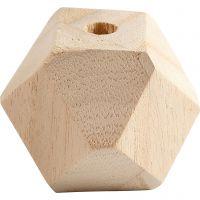 Facettslipade träpärlor, B: 43 mm, Hålstl. 8 mm, 3 st./ 1 förp.