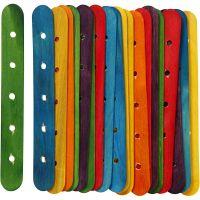 Konstruktionspinnar, L: 15 cm, B: 1,8 cm, Hålstl. 4 mm, mixade färger, 20 mix./ 1 förp.