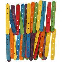 Konstruktionspinnar, L: 15 cm, B: 1,8 cm, Hålstl. 4 mm, mixade färger, 500 mix./ 1 förp.