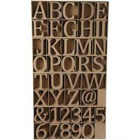 Bokstäver, siffror och symboler av trä, H: 8 cm, tjocklek 1,5 cm, 240 st./ 1 förp.