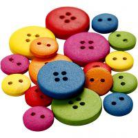 Träknappar, Dia. 12-20 mm, 2-4 hål, mixade färger, 360 st./ 1 förp.