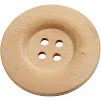 Träknappar, Dia. 40 mm, Hålstl. 3 mm, 4 hål, 6 st./ 1 förp.