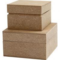 Kvadratiska askar, H: 4,8+5,5 cm, stl. 7,5+9,5 cm, 2 st./ 1 förp.