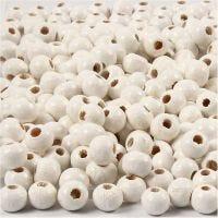 Träpärlor, Dia. 5 mm, Hålstl. 1,5 mm, vit, 6 g/ 1 förp., 150 st.