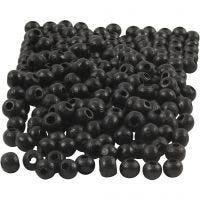 Träpärlor, Dia. 5 mm, Hålstl. 1,5 mm, svart, 6 g/ 1 förp., 150 st.