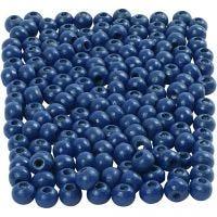 Träpärlor, Dia. 5 mm, Hålstl. 1,5 mm, blå, 6 g/ 1 förp., 150 st.