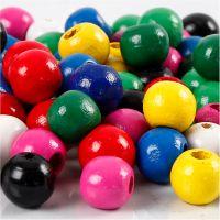 Träpärlor, Dia. 10 mm, Hålstl. 3 mm, mixade färger, 230 g/ 1 förp.