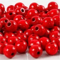 Träpärlor, Dia. 8 mm, Hålstl. 2 mm, röd, 15 g/ 1 förp., 80 st.