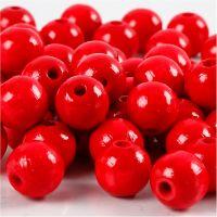 Träpärlor, Dia. 10 mm, Hålstl. 3 mm, röd, 20 g/ 1 förp.