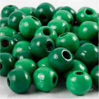 Träpärlor, Dia. 10 mm, Hålstl. 3 mm, grön, 20 g/ 1 förp.