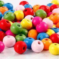 Träpärlor, Dia. 8 mm, Hålstl. 1,5-2 mm, mixade färger, 500 g/ 1 påse