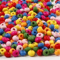 Träpärlor, Dia. 4 mm, Hålstl. 1-1,5 mm, 300 g/ 1 påse