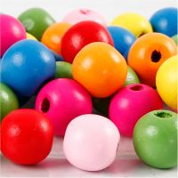 Träpärlor, Dia. 12 mm, Hålstl. 2,5-3 mm, mixade färger, 22 g/ 1 förp.