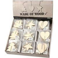 3D-dekoration i trä, hjärta, stjärna och julgran, stl. 7,5x7,5x0,2 cm, 3x30 st./ 1 förp.
