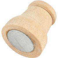 Träbricka med magnet, H: 13 mm, Dia. 9-12 mm, 20 st./ 1 förp.