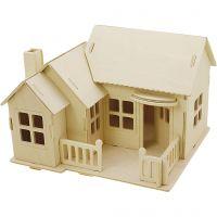 3D konstruktionsfigur, Hus med terass, stl. 19x17,5x15 , 1 st.