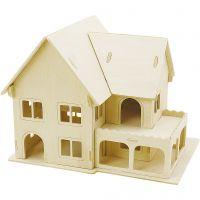 3D konstruktionsfigur, Hus med veranda, stl. 22,5x16x17,5 , 1 st.