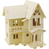 3D konstruktionsfigur, Hus med altan, stl. 15,8x17,5x19,5 , 1 st.