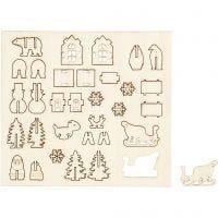 Sätt-ihop-själv träfigurer, jul, L: 15,5 cm, B: 17 cm, 1 förp.