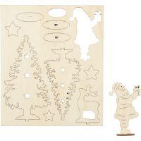 Sätt-ihop-själv träfigurer, jultomte, julgran, hjort, L: 20 cm, B: 17 cm, 1 förp.