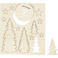 Sätt-ihop-själv träfigurer, julgranar, L: 20 cm, B: 17 cm, 1 förp.