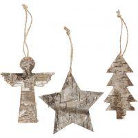 Juldekorationer, H: 10 cm, B: 8 cm, 3 st./ 1 förp.