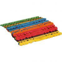 Konstruktionspinnar, L: 11,4 cm, B: 10 mm, mixade färger, 30 st./ 1 förp.