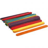 Träpinnar, L: 11,4 cm, B: 10 mm, mixade färger, 30 st./ 1 förp.