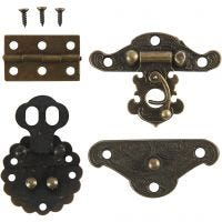 Minibeslag, stl. 30-35 mm, antikguld, 10 set/ 1 förp.